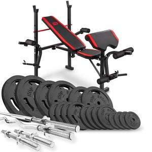Hop-Sport Nakladací činkový set Strong 146kg + posilňovacia lavica HS-1055