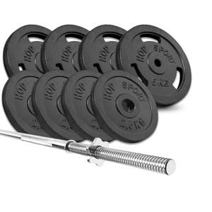 Hop-Sport HS Nakládací činkový set Strong 39kg s rovnou tyčou