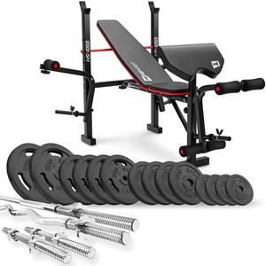 Hop-Sport Nakladací činkový set Strong 76 kg + posilňovacia lavica HS-1055