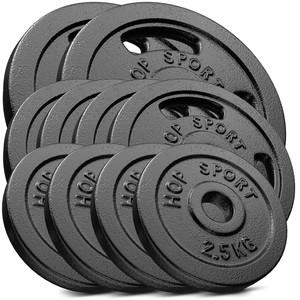 Hop-Sport Sada liatinových kotúčov 50 kg (2x10 2x5 4x2,5 8x1,25)