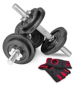 Hop-Sport Liatinové nakladacie jednoručky 2 x 10 kg + rukavice
