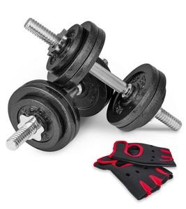 Hop-Sport Liatinové nakladacie jednoručky 2 x 15 kg + rukavice