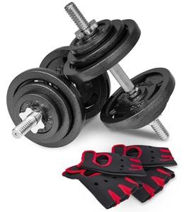 Hop-Sport Liatinové nakladacie jednoručky 2 x 20 kg + rukavice